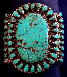 Navajo Sterling Silver Turquoise Cab Vintage Cluster Bracelet