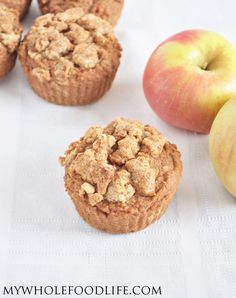 Apple Spice Coffee Cake Muffins.  Made vegan and gluten free.  Super easy breakfast recipe.  No refined sugars.