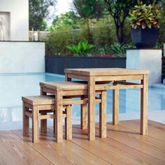 Top 2019 teak outdoor table top for 2019 Teak Dining Table, Patio Dining, Outdoor Dining, Outdoor Decor, Console Table, Small Outdoor Spaces, Area Rugs For Sale, Nesting Tables, Teak Wood