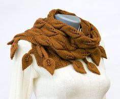 I love the leaf pattern to this! Its a shoulder wrap or scarf - would love it in another color like ivory or even a deep blue