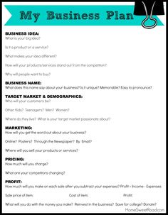 business plan worksheet kids - This business Plan Worksheet for ...