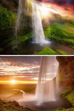 Seljalandsfoss waterfall of the river Seljalandsá, drops off of a 200 foot (60 meters) cliff into what used to be the coastline. Click through to see 15 of the BEST waterfalls in Iceland!