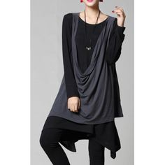Round Collar Color Splicing Pleated Long Sleeves Plus Size Knit Dress