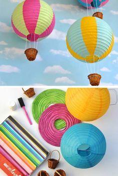 Paper Lantern Hot Air Balloons | Click for 25 DIY Nursery Decor Ideas | Toddler Girl Room Decorating Ideas