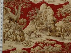 Deer fabric red toile woods nature woodland lodge from Brick House Fabric: Novelty Fabric -den $25/yd