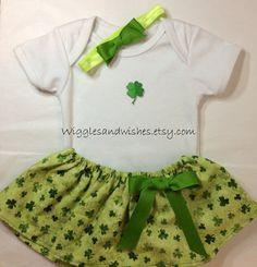 St. Patrick's Day skirt set infant newborn by Wigglesandwishes