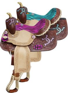 "Double T 13"" Barrel Style Saddle With Zebra Print Seat And Accents 