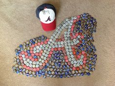 Started my Atlanta Braves bottle cap project today! Guess we have some more beers to drink! Atlanta Baseball, Braves Baseball, Atlanta Braves, Beer Cap Art, Beer Caps, Baseball Crafts, Baseball Stuff, Bottle Cap Projects, Home Crafts