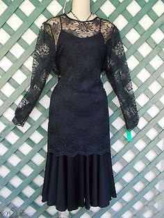 BLACK-LACE-TUNIS-TOP-DRESS-SET-16-HOLIDAY-EVENING-PARTY-COCKTAIL