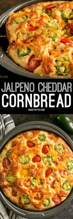 Fresh jalapeño, cheddar cheese, and fresh grape tomatoes are baked right into this Jalapeño Cheddar Cornbread making it just the right amount of extraordinary. #cornbread #cheddar #cheese #jalapeno #sidedish #baking #tomatoes #easyrecipes