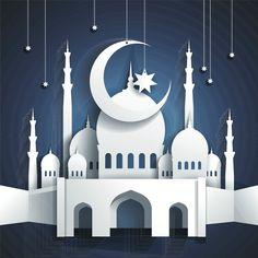 mosque and crescent moon with stars - Ramadan Kareem or Ramazan Kareem background - paper craft style - vector by Kate Pru, via Shutterst. Eid Crafts, Ramadan Crafts, Paper Crafts, Ramadan Background, Paper Background, Ramadan Wallpaper Hd, Decoraciones Ramadan, Ramadan Lantern, Image Clipart