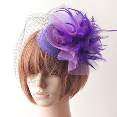 HOT party headdress hair clip pin fascinator lady feather pillbox hat veil gift in Clothing, Shoes & Accessories,Women's Accessories,Hair Accessories | eBay