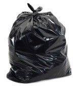 Stretchy low density black trash bags in all sizes and thicknesses.