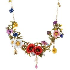 Les Néréides WILD BLOSSOMS LARGE MULTI FLOWER SHORT NECKLACE (610 AUD) ❤ liked on Polyvore featuring jewelry, necklaces, jewelry necklaces, multicolor, multi color stone necklace, multicolor necklace, colorful stone necklace, stone necklaces and stone flower necklace