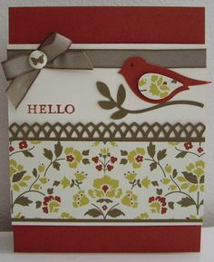 handmade card ... clean design ... luv the use of patterned paper to unify the colors ... two step punched bird with a wing from the selected paper ... like how the punched wing uses the pattern to enhance the shape ... Stampin' Up!