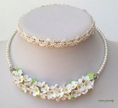 Wedding Jewelry Flower Jewelry White Jewelry Set by insoujewelry