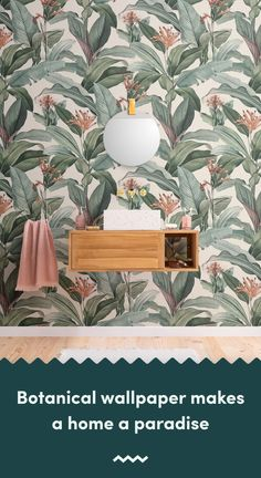 Introduce a sophisticated take on tropical design to your space, with this tropical chic wallpaper in peachy pink tones. Tropical Wallpaper, Botanical Wallpaper, Green Wallpaper, Pattern Wallpaper, Chic Wallpaper, Bathroom Wallpaper, Wallpaper Ideas, Tropical Design, Tropical Decor