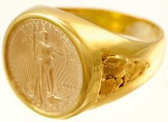 Men's Rings - Gold Nugget Men's Rings - Alaska Jewelry 1-800-360-5744