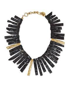 Fimbo Dark Horn & Bronze Collar Necklace by Ashley Pittman at Neiman Marcus.