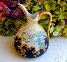 Beautiful Vintage Nippon Porcelain Hand Painted Pitcher Gold Encrusted ~ Beading #Nippon
