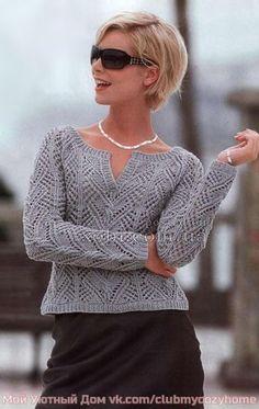 [club60393515| Ажурный пуловер реглан ]<br>#Пуловеры@v.k.uyutnoyevyazaniye<br><br>Этот пуловер реглан связан спицами ажурным узором. Замечательно подойдет для весенних и осенних дней. <br> <br>Размер: 34/36. <br> <br>Вам потребуется: 450 г серой пряжи Scooter (55% хлопка, 36% полиакрила, 9% полиа..