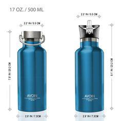 Amazon | AVOIN colorlife ステンレス真空断熱スポーツボトル 取っ手&ストロー付きキャップ 2個付き 500ml BPA Free | ジャグ | スポーツ&アウトドア