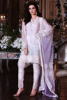 7d1ebcaf5e MARIA.B MBROIDERED Luxury Eid Collection 2017 – Cream & Lilac (BD-1001)