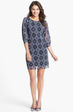 2b15edadaee8 Blue Print Mesh Shift Dress. Western Dresses