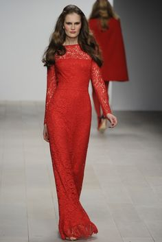 Red lace gown. Issa London RTW Fall 2012 - London (Photo: Giovanni Giannoni)