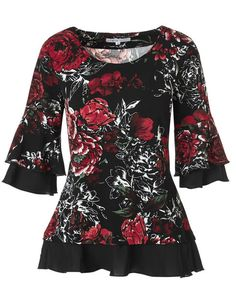 Red Floral Crepe Top