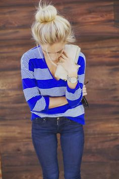 Bright blue stripes with a casual bun hair style. so cute, simple, and adorable.