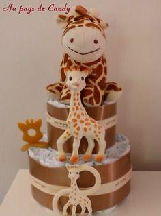 gateau de couches sophie la girafe modele garcon
