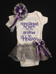 Newborn Girl's Monogrammed Bodysuit with Attached Lace TuTu Skirt. Matching Headband & Sidebow Hand Picked For Earth by My Brother In Heaven