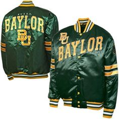 Classic letterman jacket look! // Baylor Bears satin button-up jacket