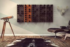Modern art, meets wall, meets wine organizing... meets hope & grace Santa Lucia Highlands Pinot Noir. This is  afantastic looking, and well designed modular wine rack system for your wall. Perfect for that person in your life addicted to Dwell magazine and Modern Design.