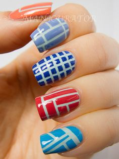 manicurator: Geometric Challenge gets Bent, Nail Art with China Glaze Avant Garden
