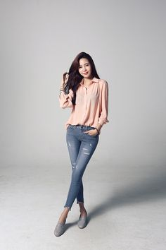 Shop for Light Shirring Pitch Blouse at Korean Fashion Store. Dedicated to bringing customers the latest Korean clothing hot this season in South Korea. We are always adding new styles daily so come check our store out! Korean Girl Fashion, Korean Street Fashion, Ulzzang Fashion, Asian Fashion, Basic Outfits, Korean Outfits, Simple Outfits, Casual Outfits, Fashion Outfits