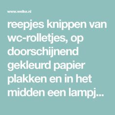 reepjes knippen van wc-rolletjes, op doorschijnend gekleurd papier plakken en in het midden een lampje van een kerstlichtjessnoer - het geheel kun je op een mooie plank bevestigen, zodat je een mooie plank-lamp hebt om waar dan ook te hangen.. Foto geplaatst door marjon205 op Welke.nl