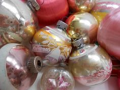 Christmas Ornament Lot of 16 Shiny Brite Vintage Pink and Silver Stencils
