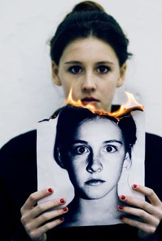"Susannah Benjamin ""Identity Crisis"" Alteration: burning childhood photo (older… Hidden Identity, Personal Identity, Identity Art, A Level Photography, Photography Projects, Portrait Photography, Creative Photography, Photography Portfolio, Photocollage"