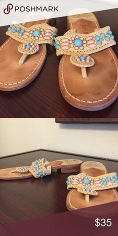 Jack Rogers Navajo gem sandals Jack Rogers Navajo gem sandals. Camel leather. Turquoise beads. Size 9.5 Jack Rogers Shoes Sandals