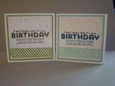 Echte mannenkaarten! Gemaakt met de Gorgeous Grunge en een stempel uit de nieuwe Sale-a-Bration