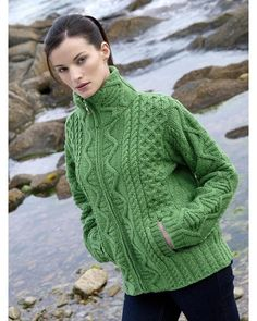 25a5177083e5 Crafted in 100% Soft Merino Wool this ladies zip Irish knitted cardigan jacket  has