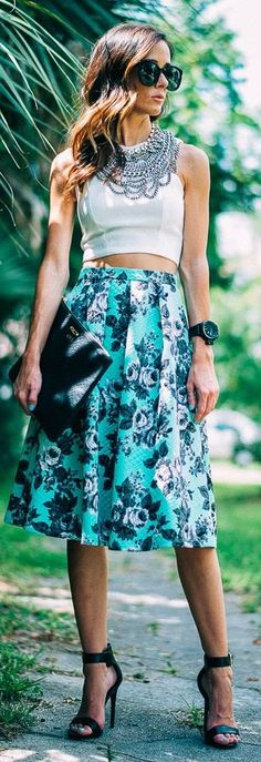 #datewear #streetstyle | an Asos green black floral high Waist quilted midi skirt paired with a white sleeveless cropped top, and styled with a statement necklace and black ankle strap sandals
