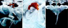 Dit zijn foto's uit een Underwater serie van Michael David Adams, getiteld Fire in the Sky. Het model heet Cecile Sinclair. Een van mijn 'beste vondsten' tot nu toe. Omdat het heel goed weergeeft wat ik wil met het eind van mijn verhaal. Je ziet een meisje dat ik in het water beland, met vuurrood haar. Dit past erbij omdat het bij gaat om het vuur van binnen, het vuur in je hoofd. De persoon springt in het water om de rust in haar hoofd te hervinden. Dat laten deze foto's heel goed zien.
