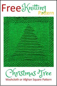 Crochet Square Pattern Free Christmas Tree Washcloth or Afghan Square Knitting Pattern Knitted Squares Pattern, Knitted Dishcloth Patterns Free, Knitting Squares, Knitted Washcloths, Loom Knitting Patterns, Free Knitting, Simple Knitting, Afghan Crochet, Crochet Mandala