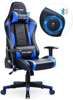 GTRACING Gaming Chair with Bluetooth Speakers Music Video Game Chair Audio【Patented Design】 Heavy Duty Ergonomic Office Computer Desk Chair Blue Video Game Music, Video Game Rooms, Metal Chairs, Cool Chairs, Blue Chairs, Leather Chairs, Chaise Gaming, Gamer Chair, Gaming Room Setup