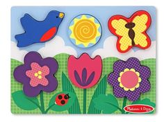 Chunky Puzzle Scene - Flower Garden Puzzle - 6 Pieces : This childs-eye view of a sunny day features a blue bird, a butterfly and a garden full of brightly colored flowers. A perfect puzzle activity in any weather, the extra-thick pieces can stand upright and are easily placed on the matching, full-color pictures on the wooden puzzle board.