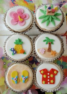 Tropical Hawaiian Luau Fondant Cupcake Topper Decorations- Perfect for Beach parties, Pool Parties, Summer Hawaiian Cupcakes, Beach Cupcakes, Summer Cupcakes, Hawaiian Luau, Cute Cupcakes, Themed Cupcakes, Fondant Cupcake Toppers, Cupcake Cookies, Hawaii Cake