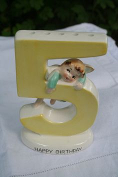 vintage 1950s 5 birthday cake topper candle by nestingwren